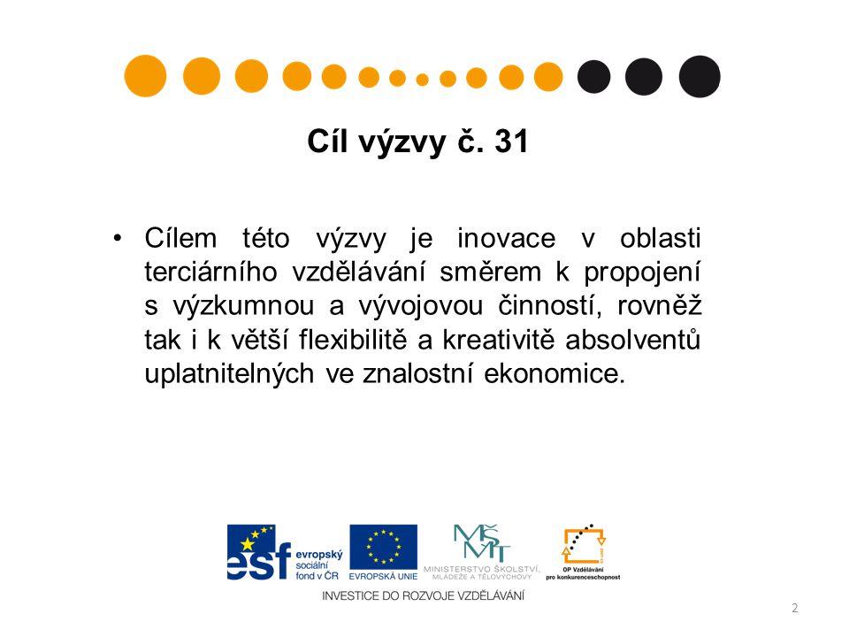 Cíl výzvy č. 31 Cílem této výzvy je inovace v oblasti terciárního vzdělávání směrem k propojení s výzkumnou a vývojovou činností, rovněž tak i k větší
