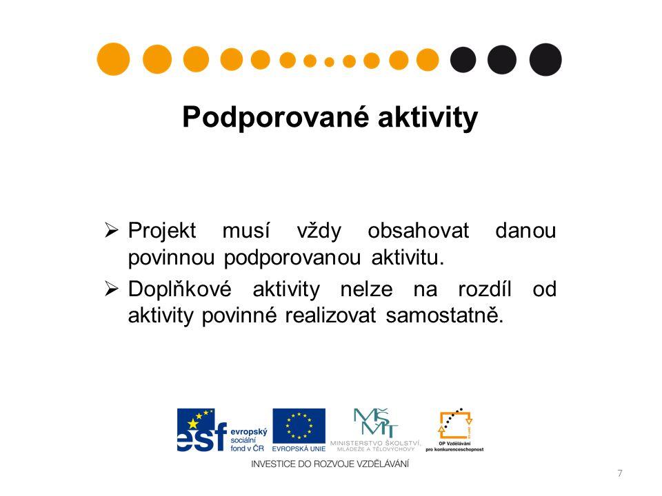 Podporované aktivity  Projekt musí vždy obsahovat danou povinnou podporovanou aktivitu.  Doplňkové aktivity nelze na rozdíl od aktivity povinné real