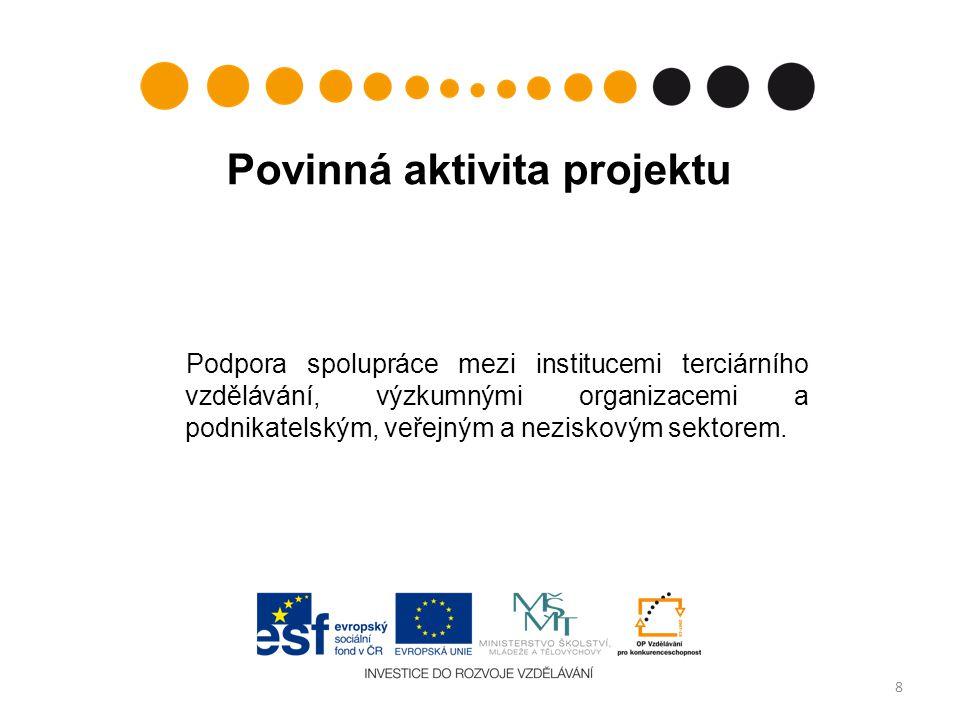Doplňkové aktivity  Podpora spolupráce mezi institucemi terciárního vzdělávání, výzkumnými a vývojovými pracovišti a podnikatelským a veřejným sektorem formou komunikačních a interaktivních platforem.