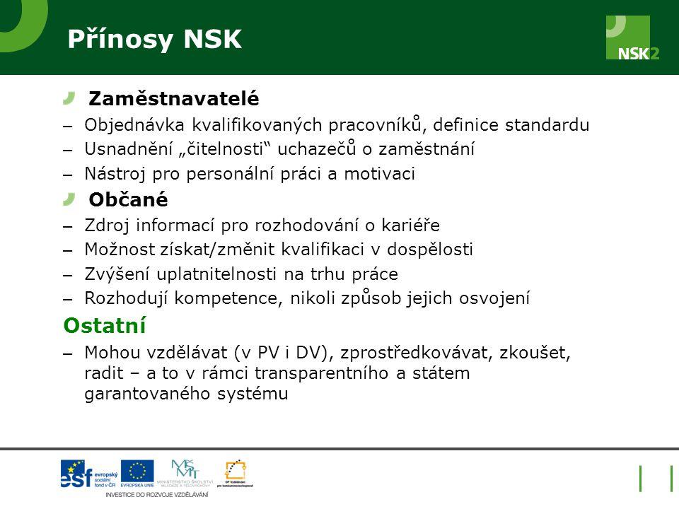 """Přínosy NSK Zaměstnavatelé – Objednávka kvalifikovaných pracovníků, definice standardu – Usnadnění """"čitelnosti"""" uchazečů o zaměstnání – Nástroj pro pe"""