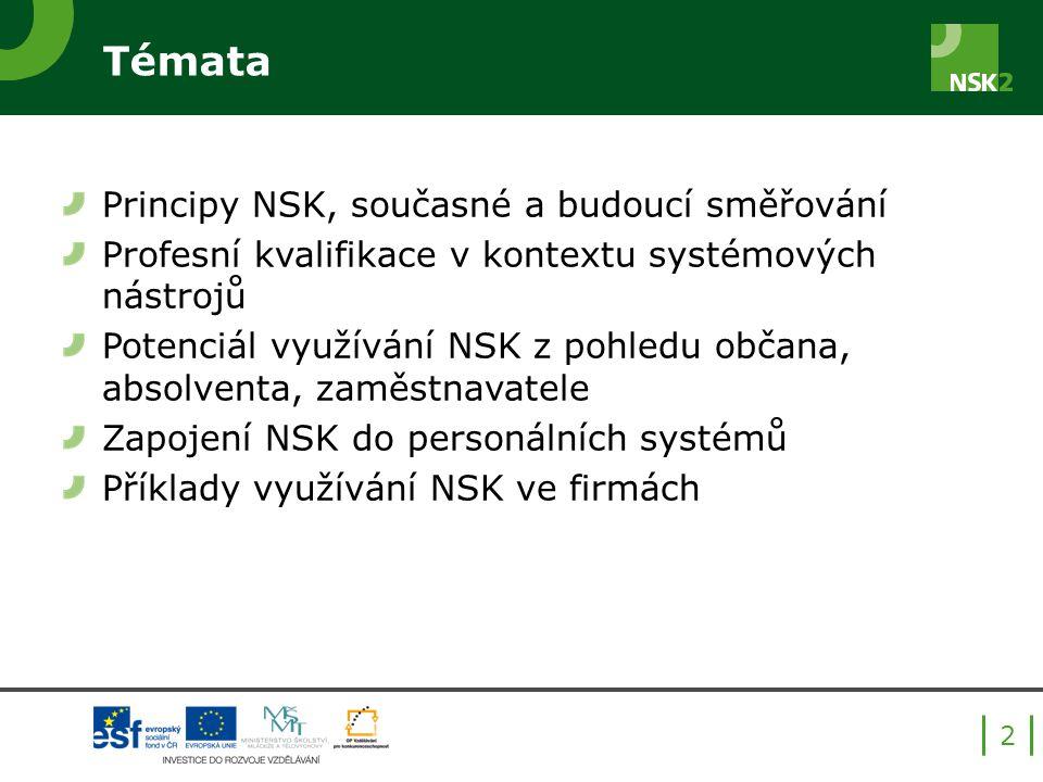 Témata Principy NSK, současné a budoucí směřování Profesní kvalifikace v kontextu systémových nástrojů Potenciál využívání NSK z pohledu občana, absolventa, zaměstnavatele Zapojení NSK do personálních systémů Příklady využívání NSK ve firmách 2