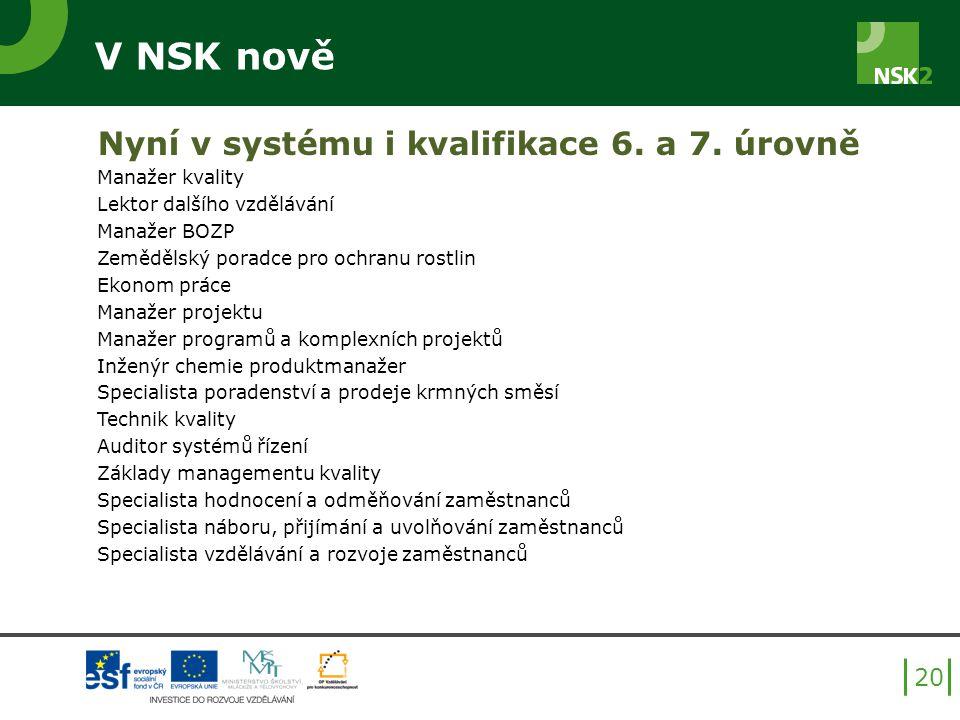V NSK nově Nyní v systému i kvalifikace 6. a 7. úrovně Manažer kvality Lektor dalšího vzdělávání Manažer BOZP Zemědělský poradce pro ochranu rostlin E