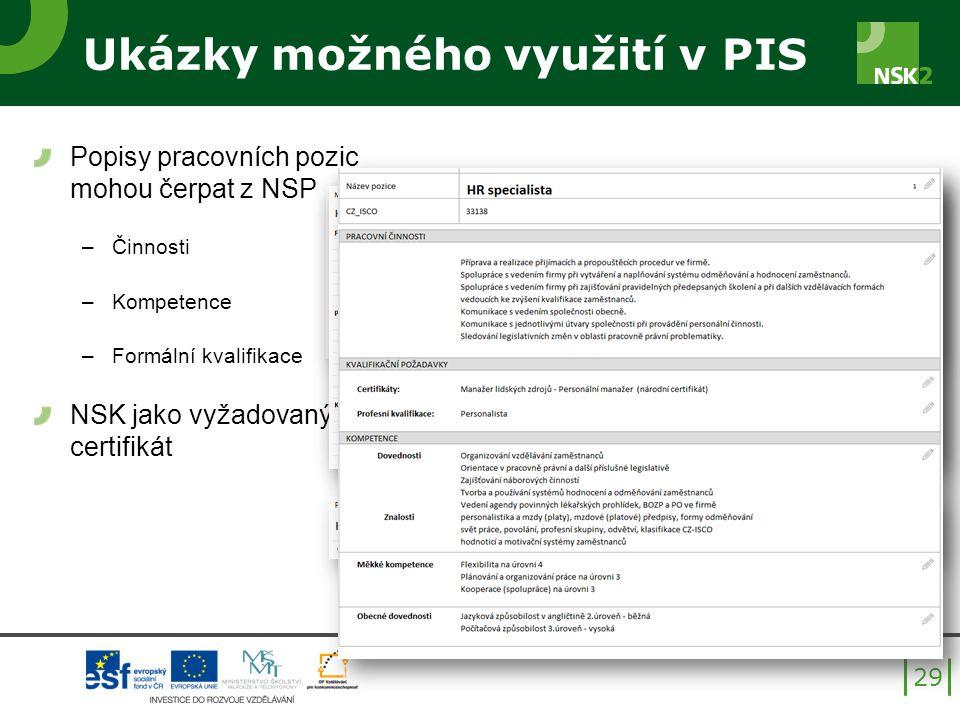 Ukázky možného využití v PIS Popisy pracovních pozic mohou čerpat z NSP –Činnosti –Kompetence –Formální kvalifikace NSK jako vyžadovaný certifikát 29