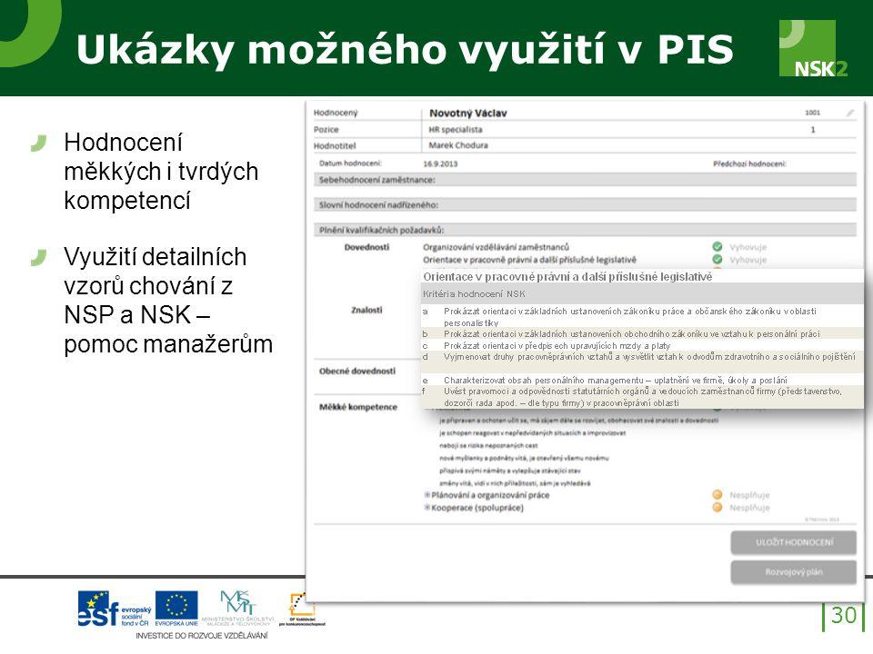 Ukázky možného využití v PIS Hodnocení měkkých i tvrdých kompetencí Využití detailních vzorů chování z NSP a NSK – pomoc manažerům 30