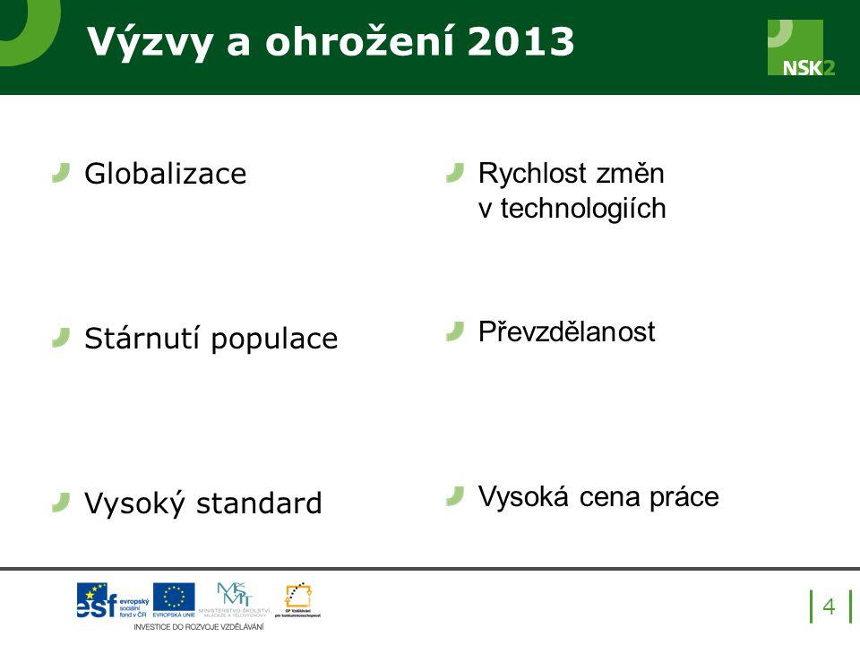 Výzvy a ohrožení 2013 Globalizace Stárnutí populace Vysoký standard Rychlost změn v technologiích Převzdělanost Vysoká cena práce 4