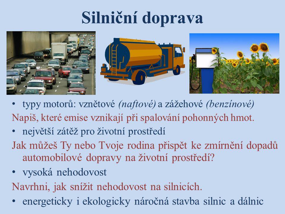 Silniční doprava typy motorů: vznětové (naftové) a zážehové (benzínové) Napiš, které emise vznikají při spalování pohonných hmot. největší zátěž pro ž