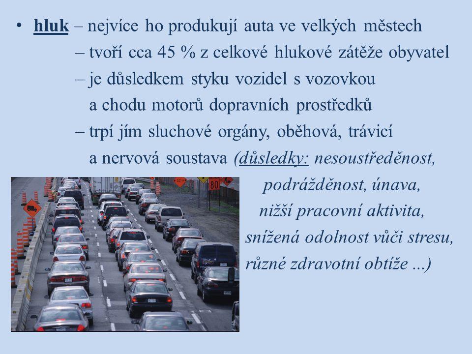 hluk – nejvíce ho produkují auta ve velkých městech – tvoří cca 45 % z celkové hlukové zátěže obyvatel – je důsledkem styku vozidel s vozovkou a chodu