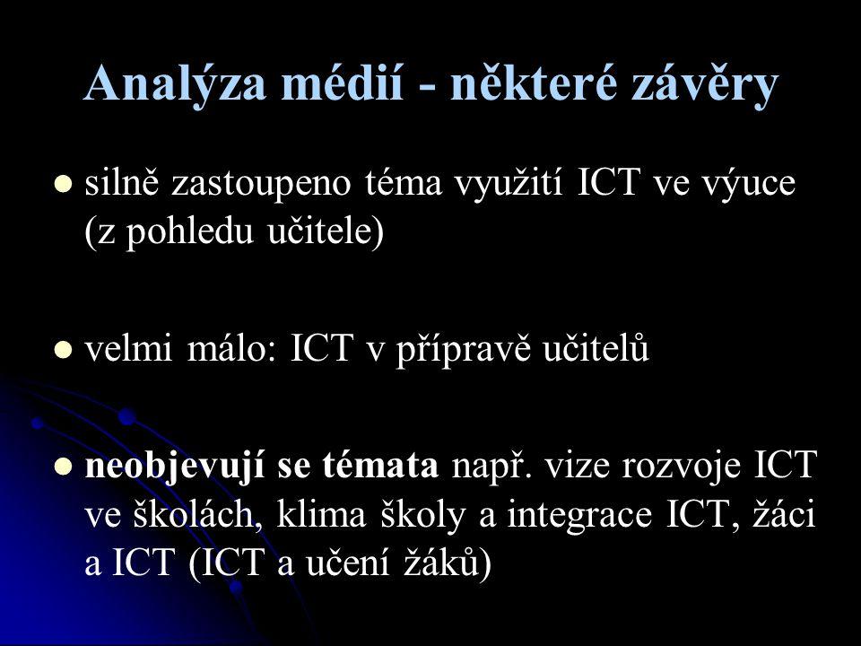 Analýza médií - některé závěry silně zastoupeno téma využití ICT ve výuce (z pohledu učitele) velmi málo: ICT v přípravě učitelů neobjevují se témata
