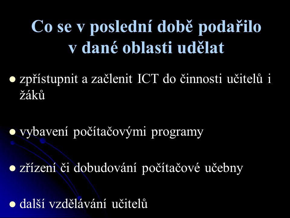 Co se v poslední době podařilo v dané oblasti udělat zpřístupnit a začlenit ICT do činnosti učitelů i žáků vybavení počítačovými programy zřízení či d