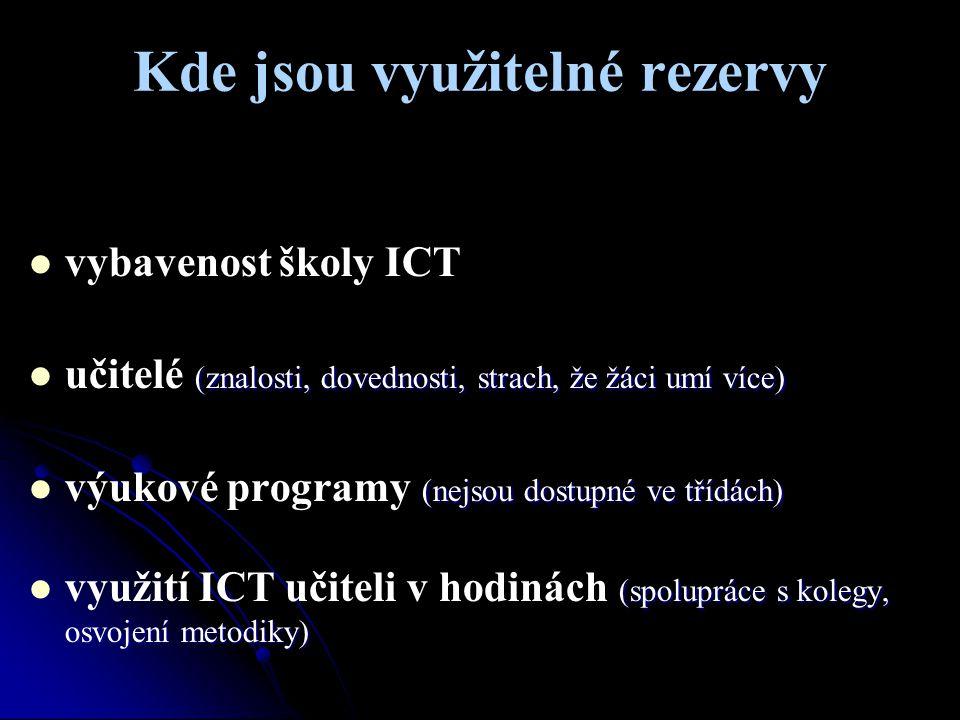 Kde jsou využitelné rezervy vybavenost školy ICT (znalosti, dovednosti, strach, že žáci umí více) učitelé (znalosti, dovednosti, strach, že žáci umí v