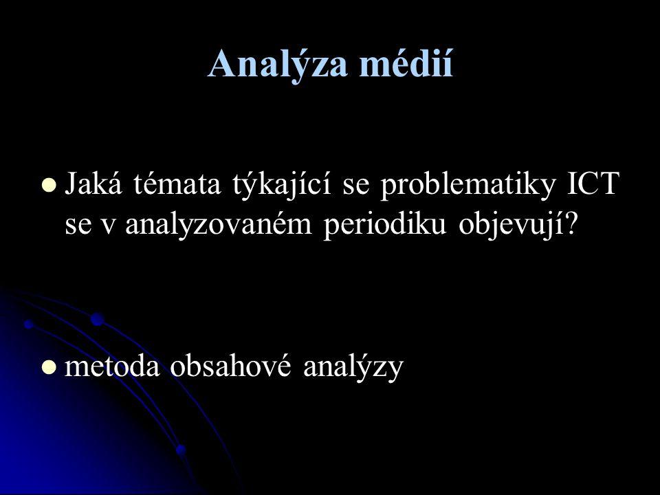 Analýza médií Jaká témata týkající se problematiky ICT se v analyzovaném periodiku objevují? metoda obsahové analýzy