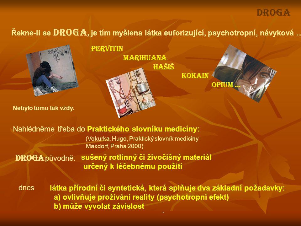 Řekne-li se DROGA, je tím myšlena látka euforizující, psychotropní, návyková … Nahlédněme třeba do Praktického slovníku medicíny: (Vokurka, Hugo, Prak