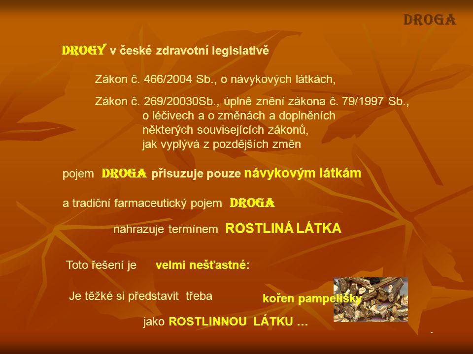 DROGY v české zdravotní legislativě Zákon č. 466/2004 Sb., o návykových látkách, Zákon č. 269/20030Sb., úplně znění zákona č. 79/1997 Sb., o léčivech