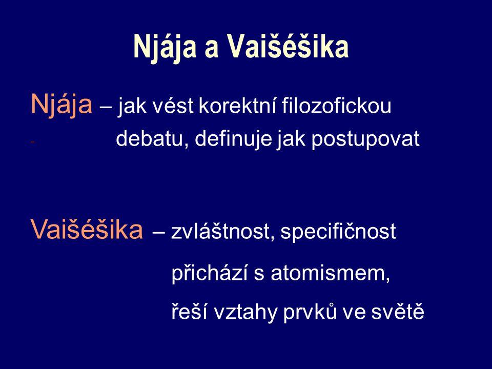 Njája a Vaišéšika Njája – jak vést korektní filozofickou - debatu, definuje jak postupovat Vaišéšika – zvláštnost, specifičnost přichází s atomismem,