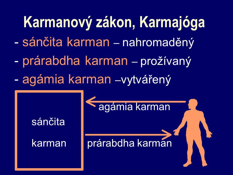 Karmanový zákon, Karmajóga - sánčita karman – nahromaděný - prárabdha karman – prožívaný - agámia karman – vytvářený agámia karman sánčita karman prár