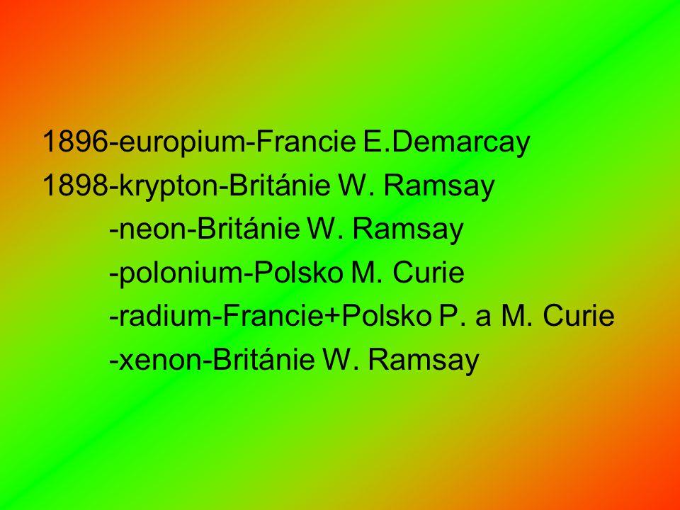 1896-europium-Francie E.Demarcay 1898-krypton-Británie W.