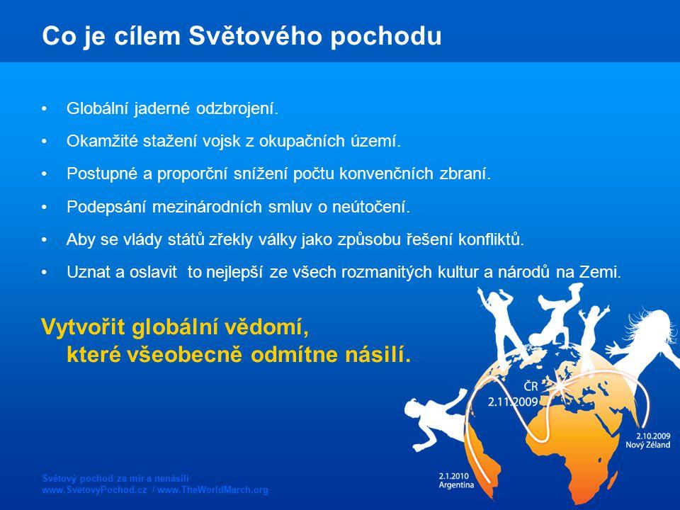 Světový pochod za mír a nenásilí www.SvetovyPochod.cz / www.TheWorldMarch.org Co je cílem Světového pochodu Globální jaderné odzbrojení.