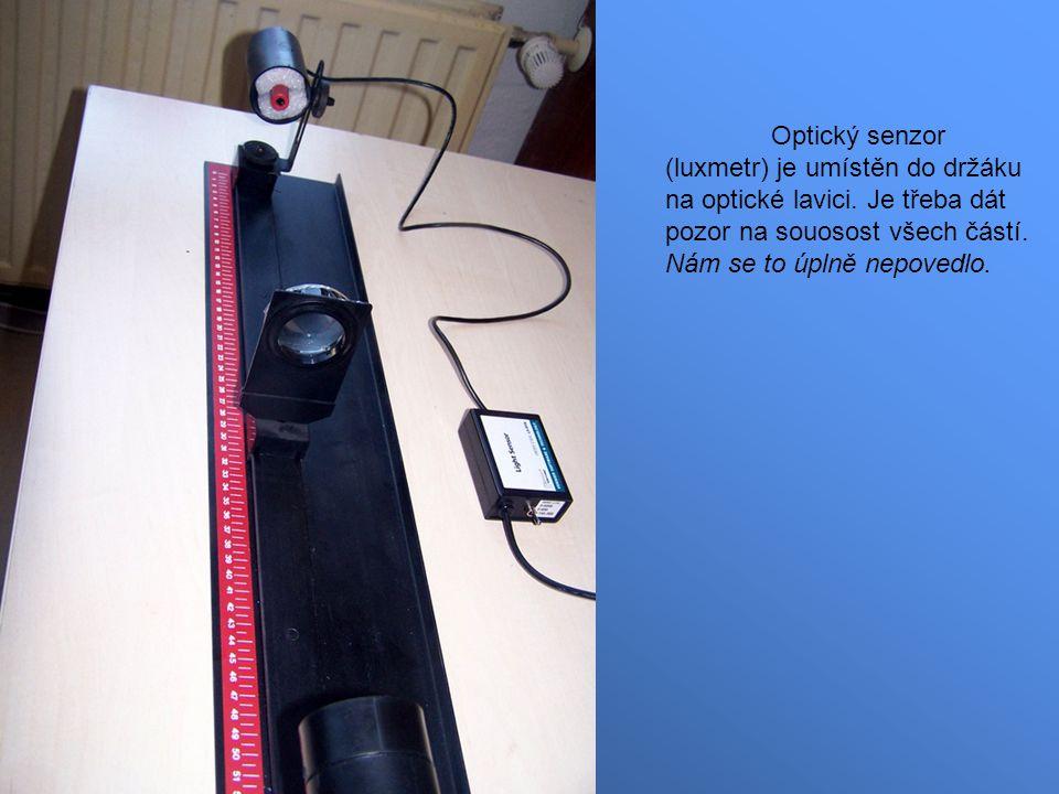 Optický senzor (luxmetr) je umístěn do držáku na optické lavici.