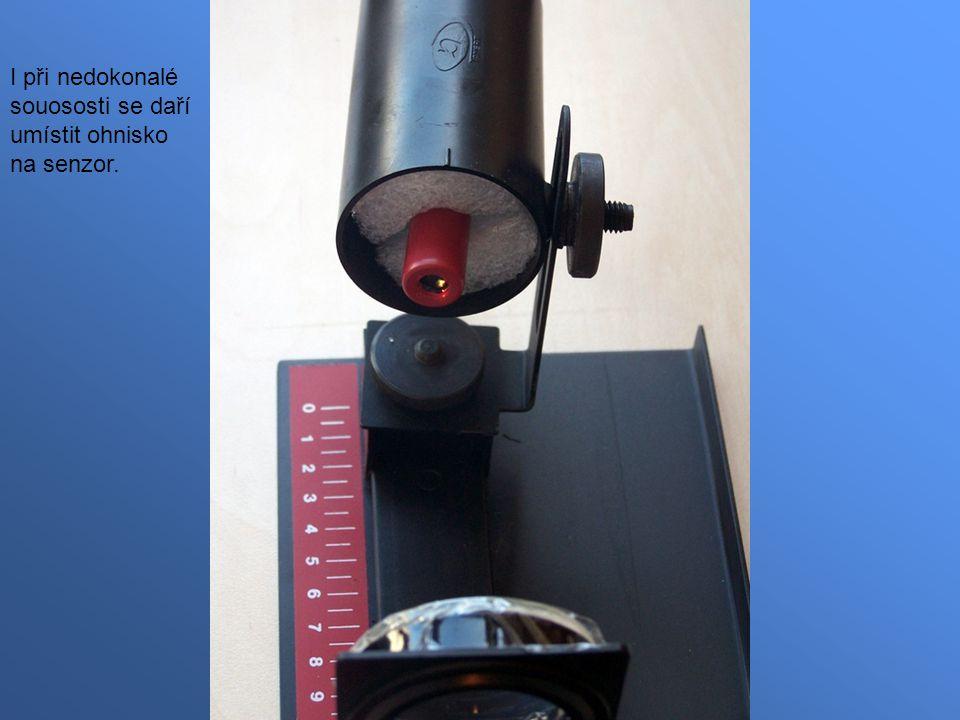 I při nedokonalé souososti se daří umístit ohnisko na senzor.