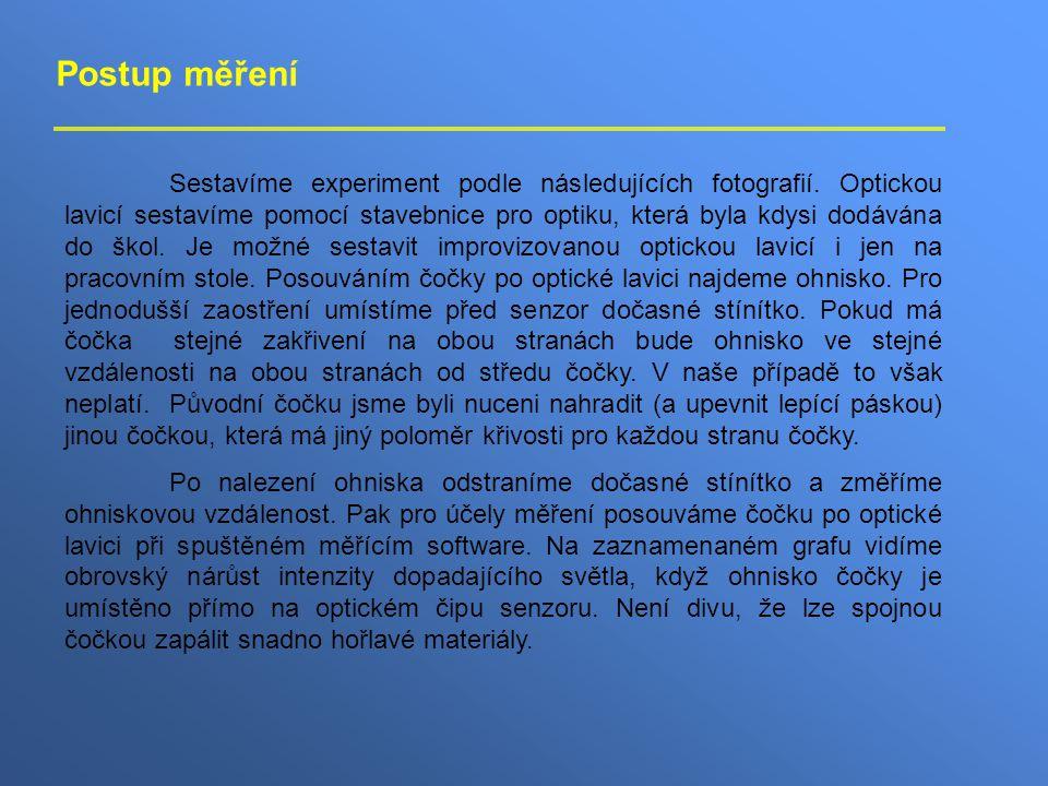 Postup měření Sestavíme experiment podle následujících fotografií.