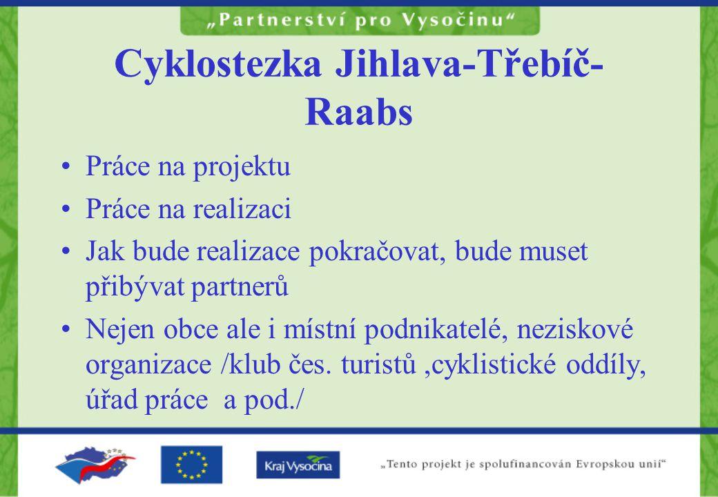 Cyklostezka Jihlava-Třebíč- Raabs Práce na projektu Práce na realizaci Jak bude realizace pokračovat, bude muset přibývat partnerů Nejen obce ale i místní podnikatelé, neziskové organizace /klub čes.