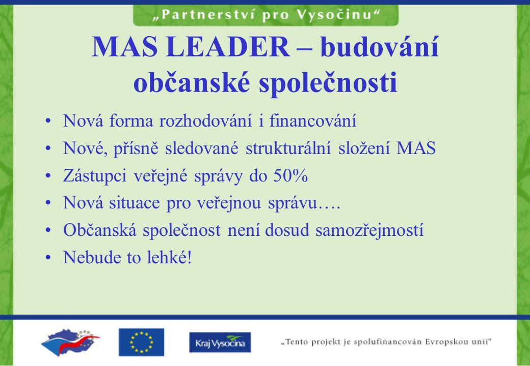 MAS LEADER – budování občanské společnosti Nová forma rozhodování i financování Nové, přísně sledované strukturální složení MAS Zástupci veřejné správy do 50% Nová situace pro veřejnou správu….