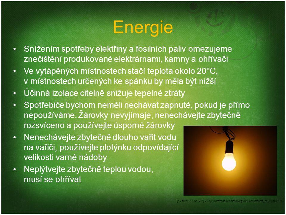 Energie Snížením spotřeby elektřiny a fosilních paliv omezujeme znečištění produkované elektrárnami, kamny a ohřívači Ve vytápěných místnostech stačí