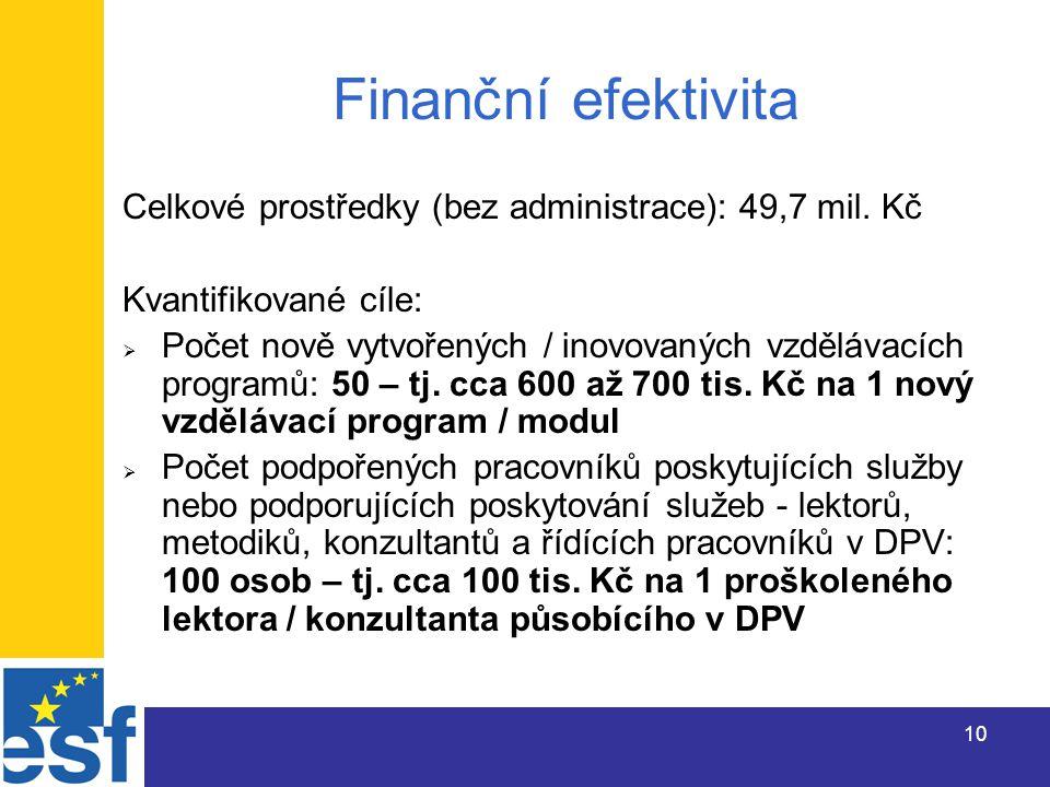 10 Finanční efektivita Celkové prostředky (bez administrace): 49,7 mil.