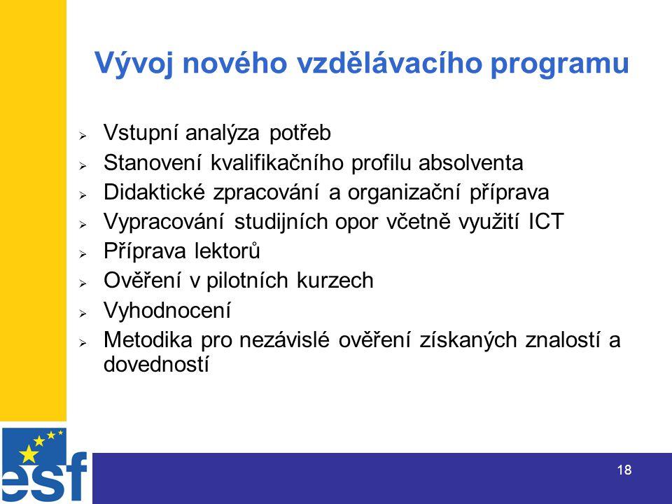 18 Vývoj nového vzdělávacího programu  Vstupní analýza potřeb  Stanovení kvalifikačního profilu absolventa  Didaktické zpracování a organizační příprava  Vypracování studijních opor včetně využití ICT  Příprava lektorů  Ověření v pilotních kurzech  Vyhodnocení  Metodika pro nezávislé ověření získaných znalostí a dovedností