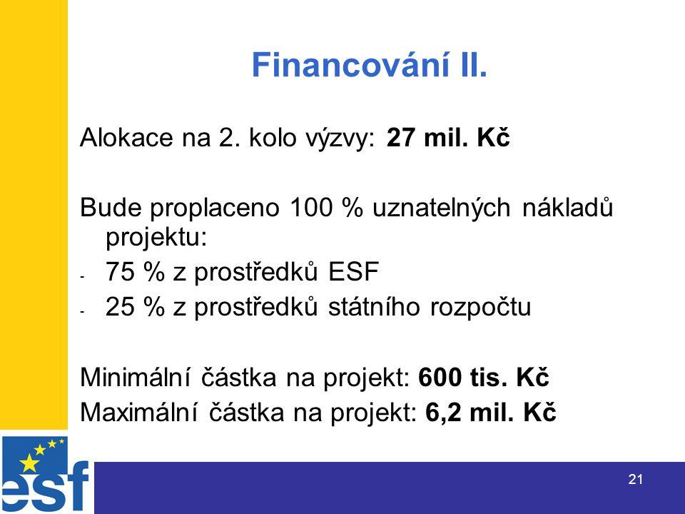 21 Financování II. Alokace na 2. kolo výzvy: 27 mil.