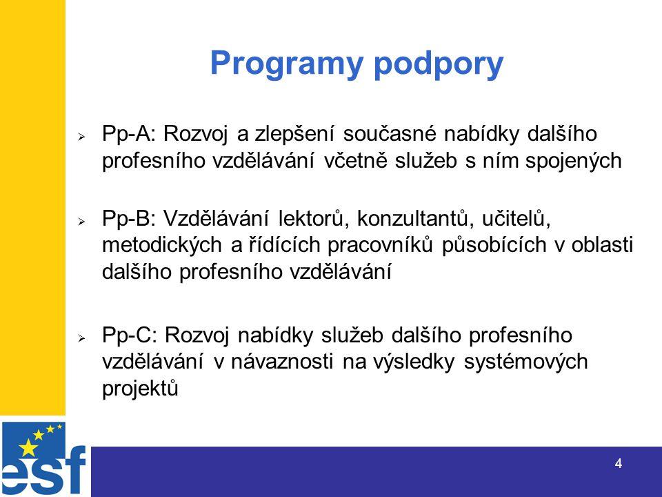 4 Programy podpory  Pp-A: Rozvoj a zlepšení současné nabídky dalšího profesního vzdělávání včetně služeb s ním spojených  Pp-B: Vzdělávání lektorů, konzultantů, učitelů, metodických a řídících pracovníků působících v oblasti dalšího profesního vzdělávání  Pp-C: Rozvoj nabídky služeb dalšího profesního vzdělávání v návaznosti na výsledky systémových projektů