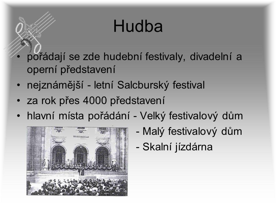 Hudba pořádají se zde hudební festivaly, divadelní a operní představení nejznámější - letní Salcburský festival za rok přes 4000 představení hlavní mí