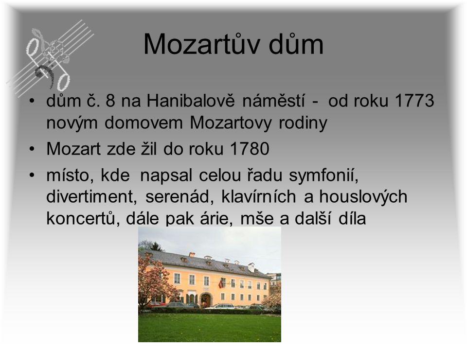 Mozartův dům dům č. 8 na Hanibalově náměstí - od roku 1773 novým domovem Mozartovy rodiny Mozart zde žil do roku 1780 místo, kde napsal celou řadu sym