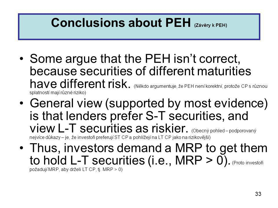 33 Some argue that the PEH isn't correct, because securities of different maturities have different risk.