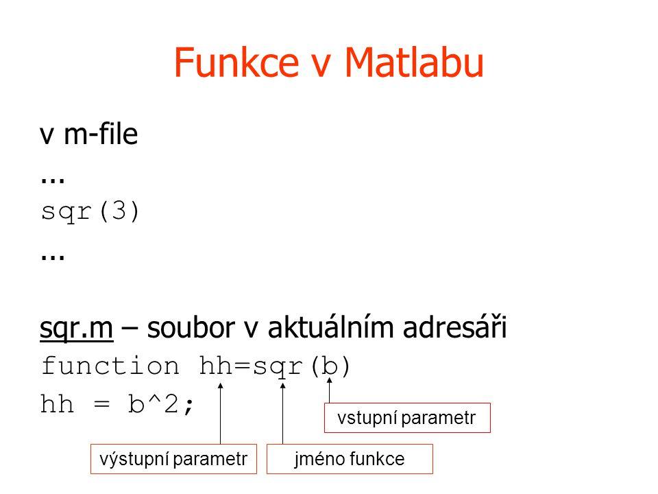 Funkce v Matlabu v m-file... sqr(3)... sqr.m – soubor v aktuálním adresáři function hh=sqr(b) hh = b^2; vstupní parametr jméno funkcevýstupní parametr