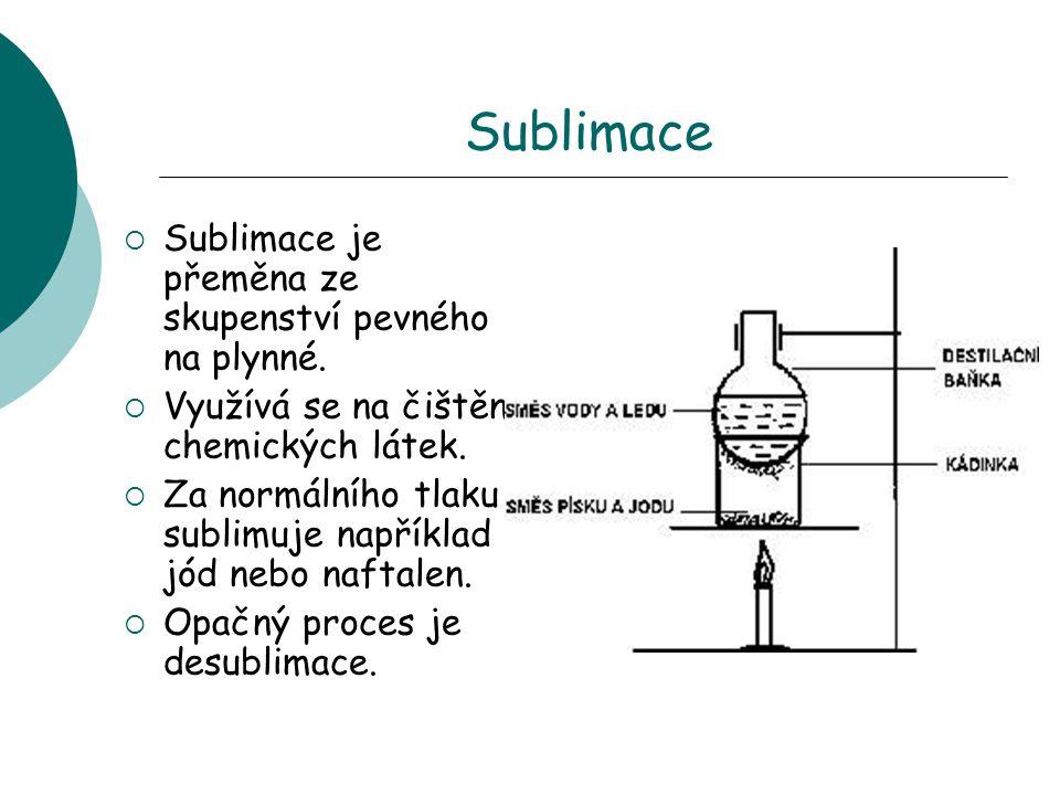 Sublimace  Sublimace je přeměna ze skupenství pevného na plynné.  Využívá se na čištění chemických látek.  Za normálního tlaku sublimuje například