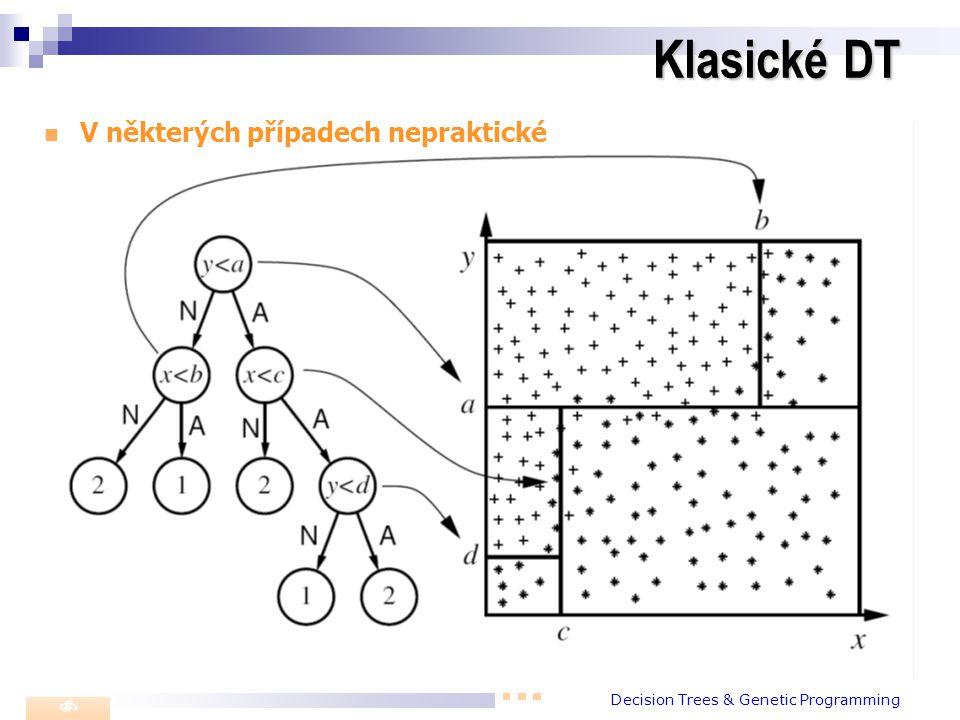 Decision Trees & Genetic Programming 1 Klasické DT V některých případech nepraktické