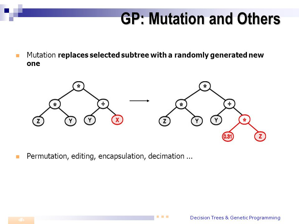 Decision Trees & Genetic Programming 5 Mutation replaces selected subtree with a randomly generated new one Permutation, editing, encapsulation, decim