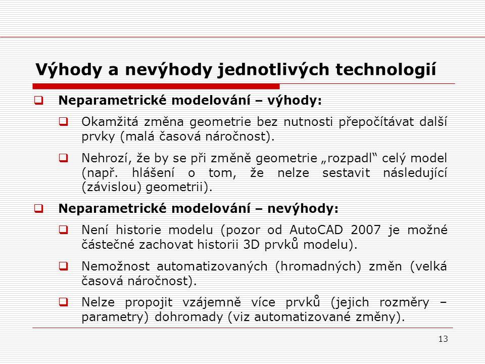 13 Výhody a nevýhody jednotlivých technologií  Neparametrické modelování – výhody:  Okamžitá změna geometrie bez nutnosti přepočítávat další prvky (