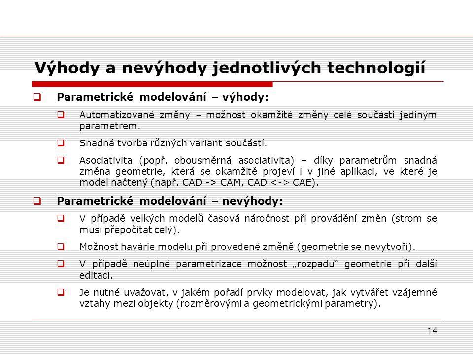 14 Výhody a nevýhody jednotlivých technologií  Parametrické modelování – výhody:  Automatizované změny – možnost okamžité změny celé součásti jediný