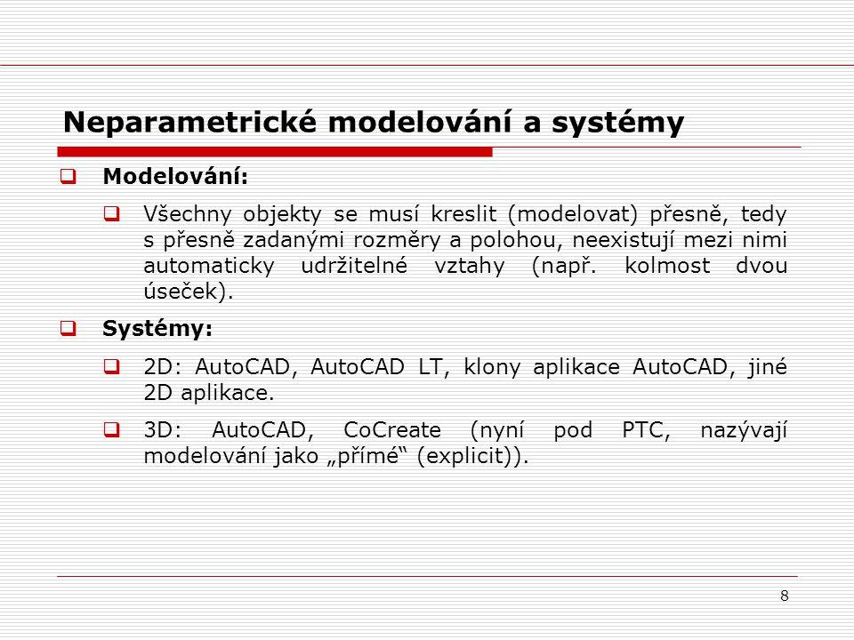8 Neparametrické modelování a systémy  Modelování:  Všechny objekty se musí kreslit (modelovat) přesně, tedy s přesně zadanými rozměry a polohou, ne