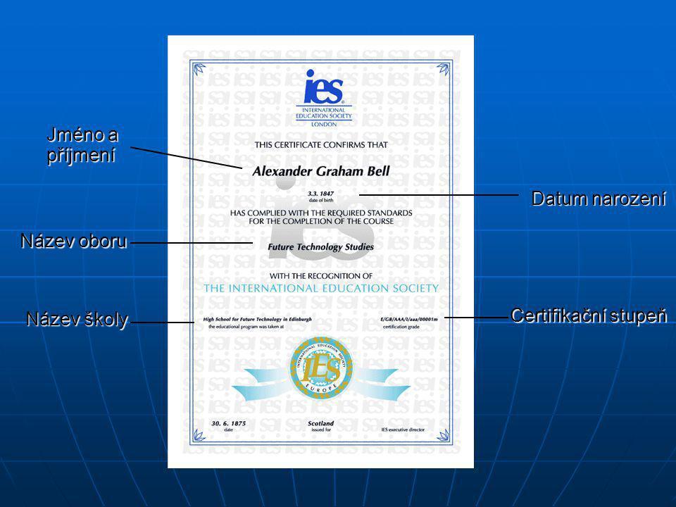 Datum narození Název oboru Název školy Certifikační stupeň Jméno a příjmení