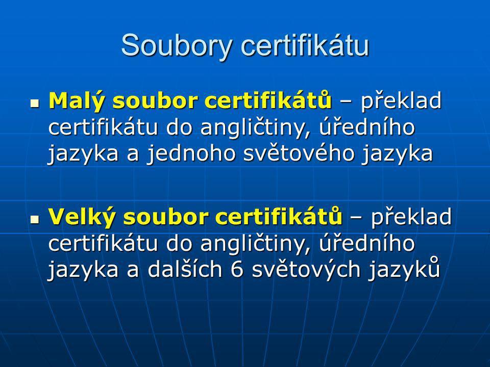 Soubory certifikátu Malý soubor certifikátů – překlad certifikátu do angličtiny, úředního jazyka a jednoho světového jazyka Malý soubor certifikátů –