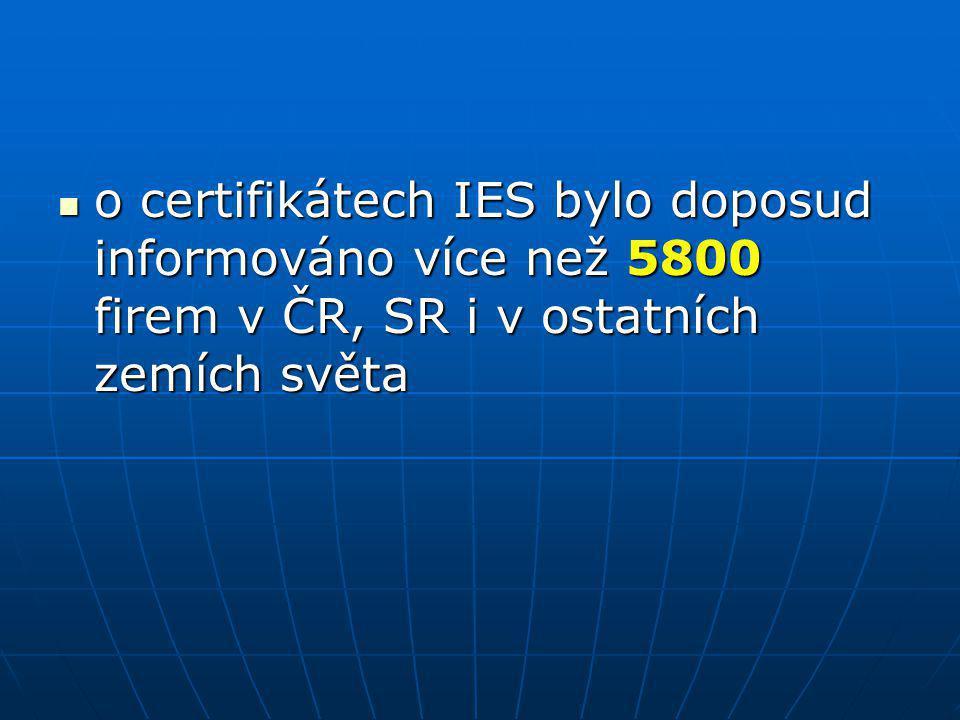 o certifikátech IES bylo doposud informováno více než 5800 firem v ČR, SR i v ostatních zemích světa o certifikátech IES bylo doposud informováno více