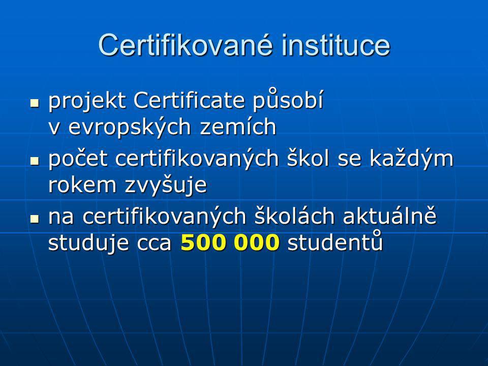 Certifikované instituce projekt Certificate působí v evropských zemích projekt Certificate působí v evropských zemích počet certifikovaných škol se ka