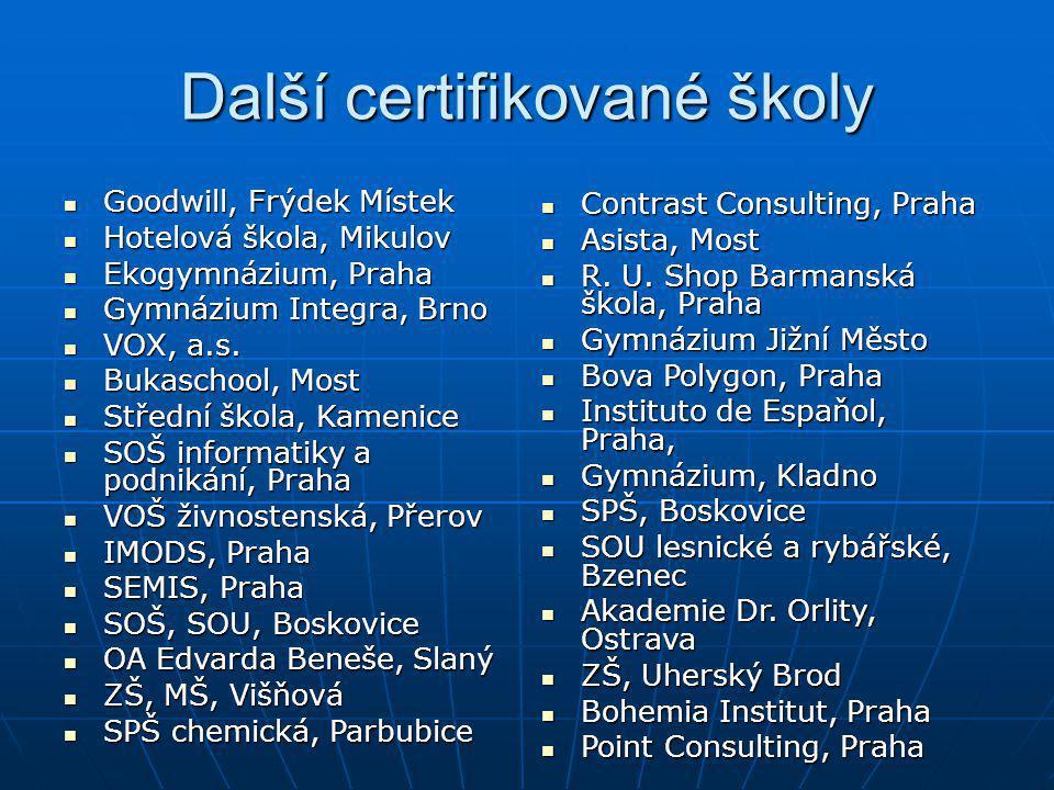 Další certifikované školy Goodwill, Frýdek Místek Goodwill, Frýdek Místek Hotelová škola, Mikulov Hotelová škola, Mikulov Ekogymnázium, Praha Ekogymná