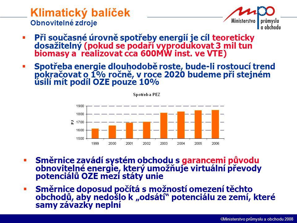  Ministerstvo průmyslu a obchodu 2008 Klimatický balíček Obnovitelné zdroje  Při současné úrovně spotřeby energií je cíl teoreticky dosažitelný (pokud se podaří vyprodukovat 3 mil tun biomasy a realizovat cca 600MW inst.