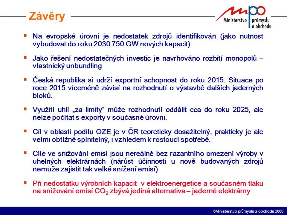  Ministerstvo průmyslu a obchodu 2008  Na evropské úrovni je nedostatek zdrojů identifikován (jako nutnost vybudovat do roku 2030 750 GW nových kapacit).