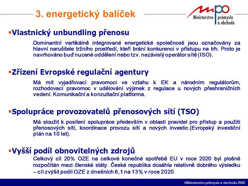  Ministerstvo průmyslu a obchodu 2008 O čem se mluví  Alternativní návrh 8 zemí EU k vlastnickému oddělení a nezávislému operátorovi ISO tzv.