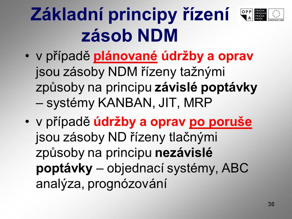 36 Základní principy řízení zásob NDM v případě plánované údržby a oprav jsou zásoby NDM řízeny tažnými způsoby na principu závislé poptávky – systémy KANBAN, JIT, MRP v případě údržby a oprav po poruše jsou zásoby ND řízeny tlačnými způsoby na principu nezávislé poptávky – objednací systémy, ABC analýza, prognózování